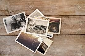 wood photo album classic car photo album on wood table instant photo of polaroid