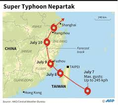 Xiamen China Map by Typhoon Nepartak Makes Landfall Early Friday In Eastern Taiwan
