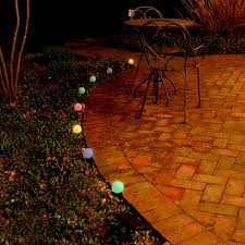 color changing solar string lights lumabase 2 5 in round solar pathway color changing string lights 8