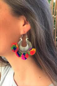 gujarati earrings colourful pom pom earrings rahnja