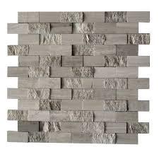 shop cci grey marble split face natural stone mosaic subway wall