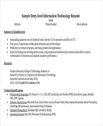 Resume Examples For Information Technology by 47 Engineering Resume Samples Free U0026 Premium Templates