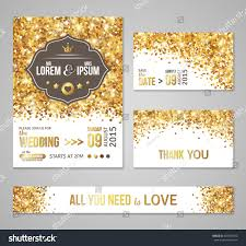 Yellow Wedding Invitation Cards Set Wedding Invitation Cards Design Gold Stock Vector 403567054