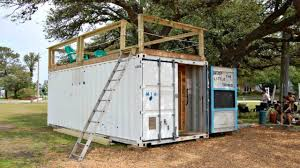 tiny house deck shipping container tiny house fits it all in with rooftop deck