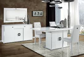 italian white high gloss dining room furniture set homegenies