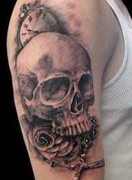skull clock rose tattoo designs and ideas 2017 collection