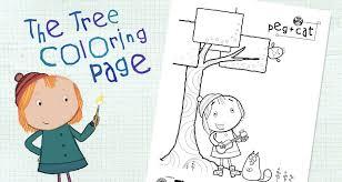 tree coloring activities peg cat pbs kids