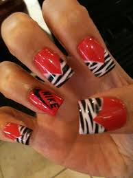 zebra nail ideas chic red nail design with black and white zebra