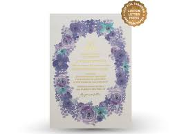 purple and gold wedding invitations purple flower wedding invitation set letterpress invitation gold