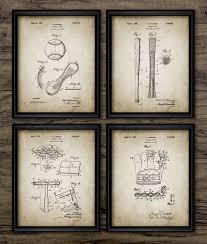 vintage baseball patent print baseball sport boys room