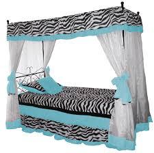 iron canopy bed blue zebra bedding