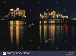 atlantis hotel in nassau bahamas at night stock photo royalty