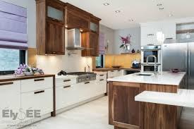 cuisine blanc et noyer armoire de cuisine et salle de bain élysée montréal laval