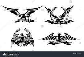 set eagle heraldic labels laurel wreaths stock vector 260730167