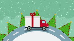 delivery flat transport truck van with gift box packs and