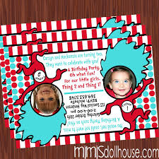 Twins 1st Birthday Invitation Cards Thing 1 And Thing 2 Cake Decorations Meknun Com