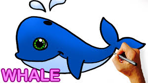 very easy how to draw cute cartoon whale art for kids youtube