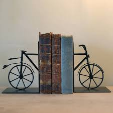 cool creative bookends black color iron material bicycle shape