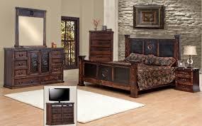 B Q Bedroom Furniture Offers Queen Size Copper Creek Bedroom Set Free Shipping Dark Stain Heavy