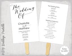 wedding program fan template wedding program fan template diy order of ceremony printable
