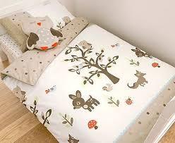 Childrens Cot Bed Duvet Sets Boys Woodlands Wood Deer Fox Animals Tree Single Duvet Cover
