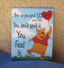 16 x 20 winnie the pooh feel love painting nursery wall art canvas