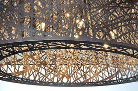 Et2 Inca 9 Light Pendant Inca 9 Light Linear Pendant In Bronze With Cognac Glass Et2
