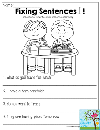 Proper Noun Worksheets For First Grade Fixing Sentences Rewrite Each Sentence Correctly Great Lesson To