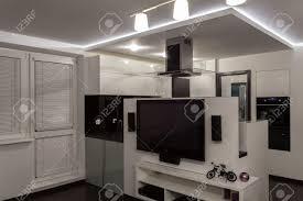 minimalist apartment black and white minimalist design stock