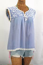 periwinkle blouse la marbrisa embroidered sleeveless peasant blouse top periwinkle