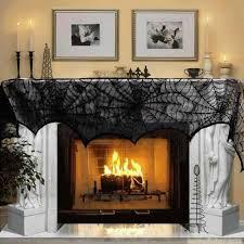 halloween decoration 1 piece black lace spiderweb fireplace mantle
