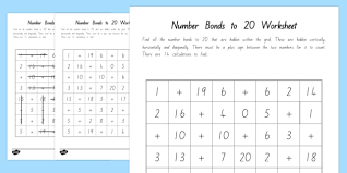 number bonds to 20 word search new zealand maths adding