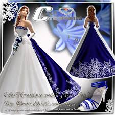 Royal Blue And Silver Wedding Second Life Marketplace G U0026t Wedding Dress