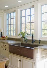 kitchen cool window treatment and copper apron front sink with