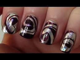 tutorial nail art foil foil swirl water marble party nail art tutorial youtube