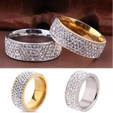 wedding band gold silver unisex cz stainless steel ring men women s wedding