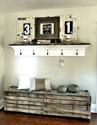 hallway bench in wood pallets lends a rustic touch interior