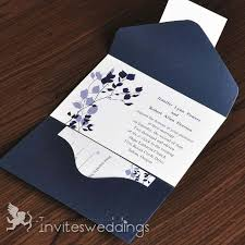 wedding invitations blue leave branches in blue shades pocket wedding invitations iwps010