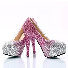 wedding shoes cork silver fuchsia gradient cinderella shoes made prom evening high