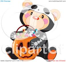 clipart halloween skeleton teddy bear with a jackolantern candy