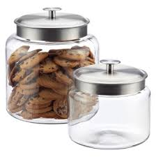 Glass Kitchen Canister decorative 1 2 gallon wide mouth glass jar silver lid flour sugar