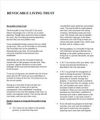 sample living trust form template 10 samples examples format