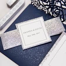 wedding invitations glitter navy blue laser cut pocket wedding invitations with