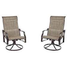 Patio Lounge Furniture by Hampton Bay Statesville Pewter Swivel Aluminum Sling Outdoor