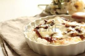 cuisine doria food doria baked chicken and white sauce on rice stock