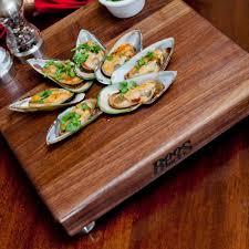 cutting boards walnut square board w stainless steel bun feet 1