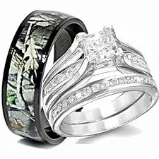 camo wedding ring sets for him and his titanium camo hers sterling silver from