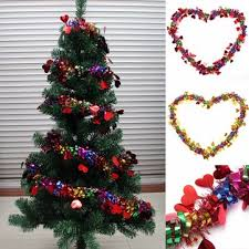 christmas tree ornament ribbon garland with love heart christmas