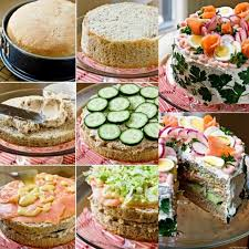sandwich cake idea salty cake prepared with bread vegetables