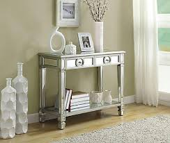 table l monarch specialties console table 38 l brushed silver mirror